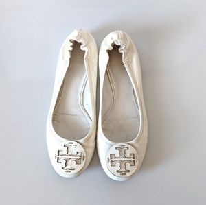 Tory Burch White Patent Leather Reva Flats Size 10